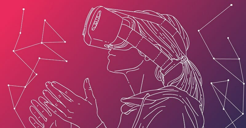 Sketch of young woman wearing VR headset