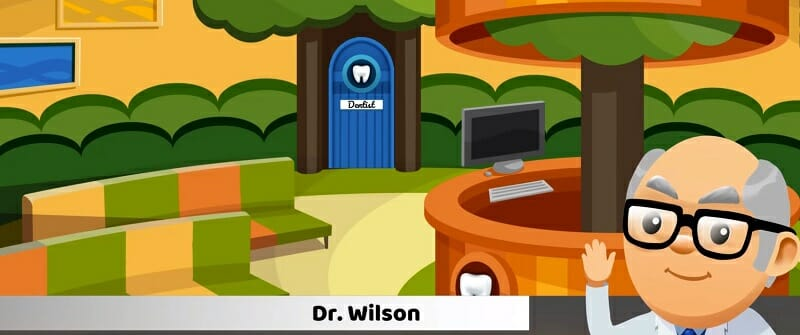 Computer character Dr. Wilson in virtual dentist office