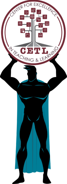 Caped man holding up CETL logo