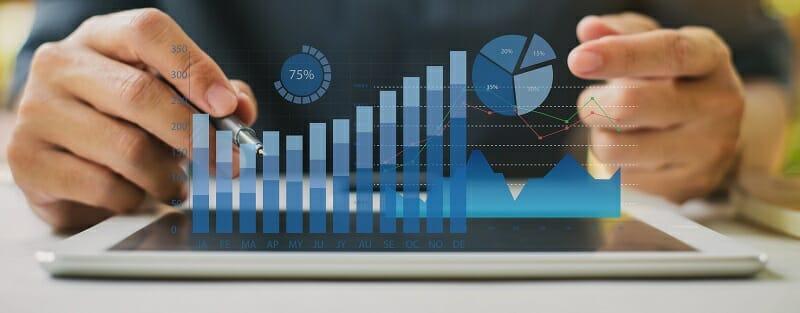 image of AR statistics charts on iPad